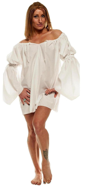 Faire Lady Renaissance Costume Short White Chemise - DeluxeAdultCostumes.com