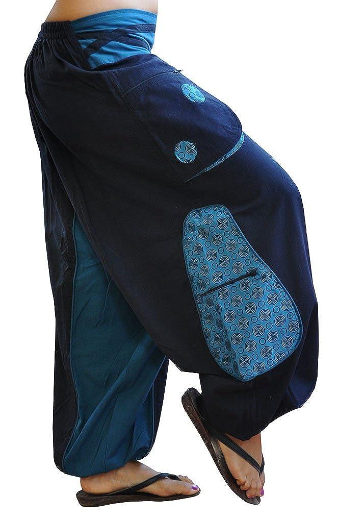 virblatt Pantalones cagados Corte Suelto para Hombres y Mujeres (Talla única) como Ropa Hippie y Pantalones afganos Largos S - L – Quirlig