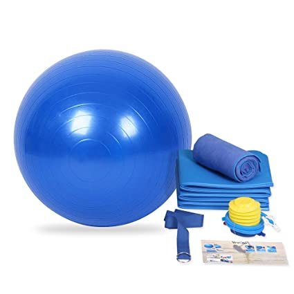 YEVITA Premium Yoga Set Kit 5-Piece 1 Yoga Mat,Yoga Mat Towel, 1 PVC Yoga Balls,Yoga Strap,Yoga Storage Bag, High Density PVC Foam Ball to Support & ...
