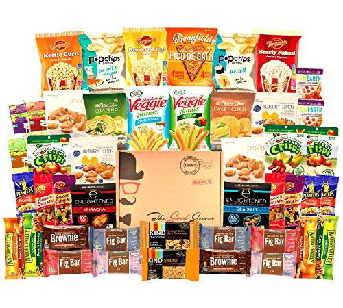 HEALTHY Snacks Care Package (45 Count): Bars, Cookies, Chips, Crispy Fruit, Trail Mix, Gift Box, Office Assortment, Variety Pack, College Student Military Care Package, Gift Basket (Halloween Gift Baskets For Children)
