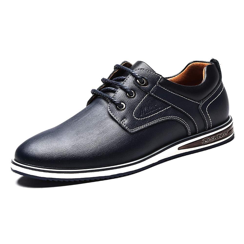 LXLA - Männer schnüren Sich Oben Geschäfts-beiläufige lederne Schuhe, runde Hauptschuhe der Männer für Männer (Farbe   Blau, größe   9.5 US 8.5 UK)