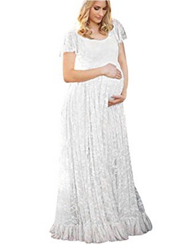 U-Story Elegant Short Sleeve Lace Flutter Maternity Gown Wedding Bridesmaid Maxi Dress (Medium, White)