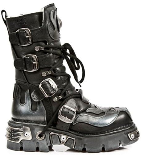 New Rock Ladies 107 Black Metallic Reactor Goth Biker Unisex Negro Boots