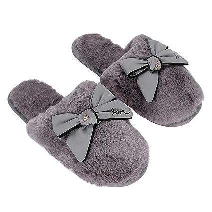fe4bd33add Pantofole da donna invernali scarpe per casa calde antiscivolo comode  ciabatte carine per interni con nodo papillon ealizzate in peluche ottime  anche per ...