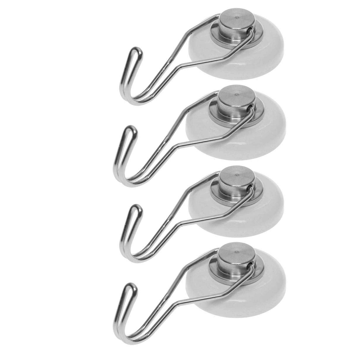 [4 Pack] Strong Magnetic Hooks (65 Pound) Rotating Swivel Hooks, The Strongest Earth Neodymium Magnet N52, Heavy Duty Magnets by MAVORO. Great for Indoor/Outdoor. Rust Free