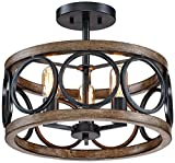 Salima 16''W Black and Wood Grain 3-Light LED Ceiling Light