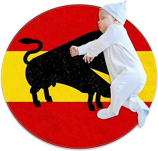 AMONKA - Alfombra Redonda para bebé con diseño de Silueta de Toro Abstracta en la Bandera española (70 cm de diámetro), poliéster, Multicolor, 27.6