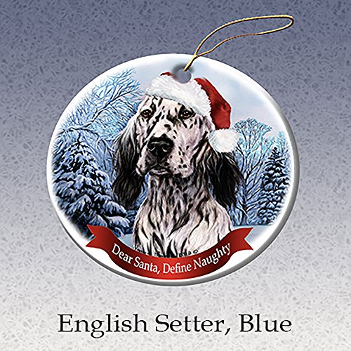 Holiday Pet Gifts English Setter, Blue Santa Hat Dog Porcelain Ornament