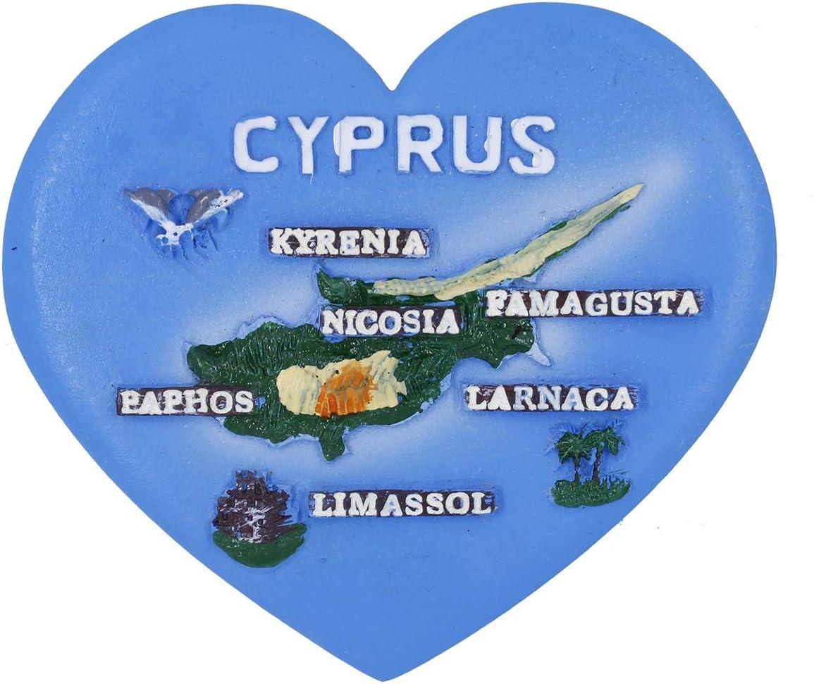 GTNINE Fridge Magnets Cyprus Map Heart Shape Souvenirs Magnet Gifts Office Magnet Refrigerator Magnets for Home Kitchen Fridge Office Whiteboard