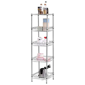 LANGRIA 5-Tier Wire Shelving Square Tower Shelving, Standing Shelving Units  Storage Organization Utility