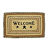 VHC Brands 10130 Primitive Flooring Prim Grove Welcome Jute Stenciled Text Rectangle Rug, 20×30 For Sale