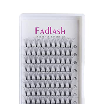 40ac69ba0d3 Amazon.com : Volume Lash Extensions Premade 10D D Curl 0.10mm 15mm Individual  Lashes Knot Free Cluster Lashes by FADLASH : Beauty