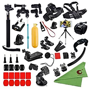 Xixihaha 45-in-1 Camera Accessories Bundle Attachments Kit GoPro Hero Session Fusion 6/5/4/3 SJ4000 Xiaomi Yi Black Sliver Action Video Cameras Helmet Strap +Floating Grip+Chest Belt Strap