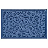 Bungalow Flooring Aqua Shield Paws and Bones Pet Mat, 17.5 x 26.5'', Navy