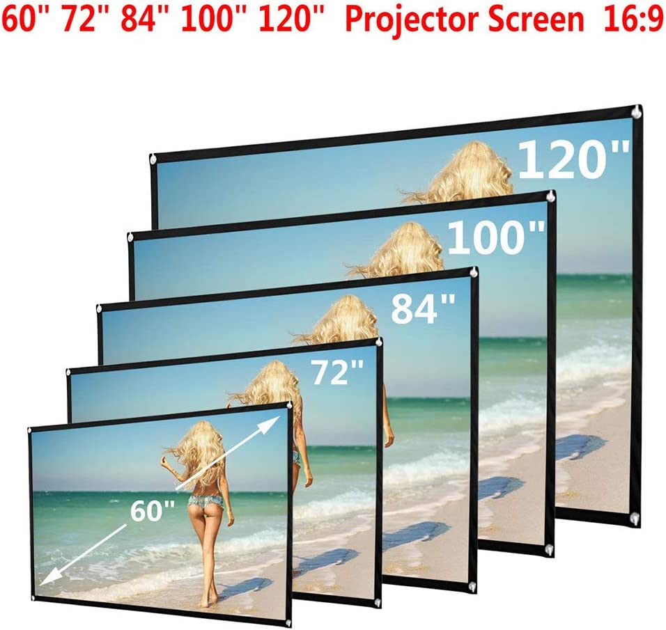 Sukisuki 60//72//84//100//120 Inch Projector Screen Foldable Home Theater Outdoor Movies 100Inch