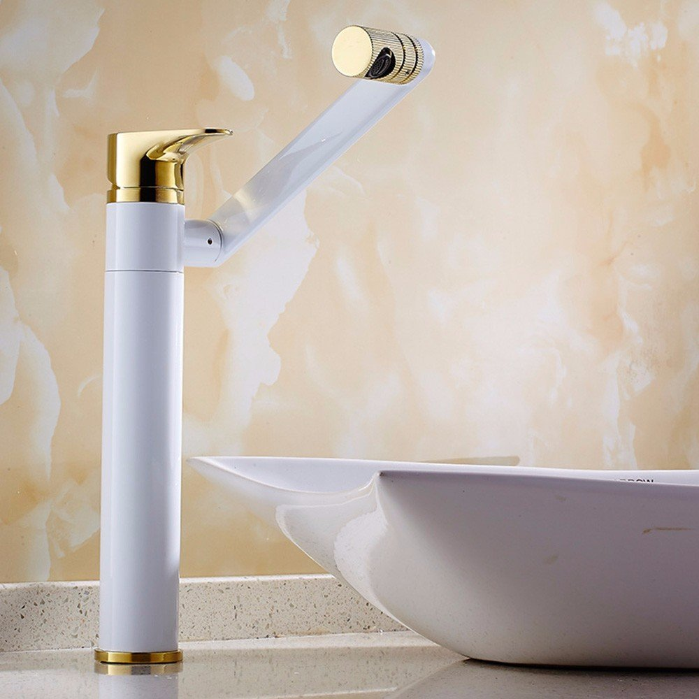LSRHT Grifo lavabo accesorios de baño Wc cobre gire fría y caliente agujero único mezclador lavarse la cara