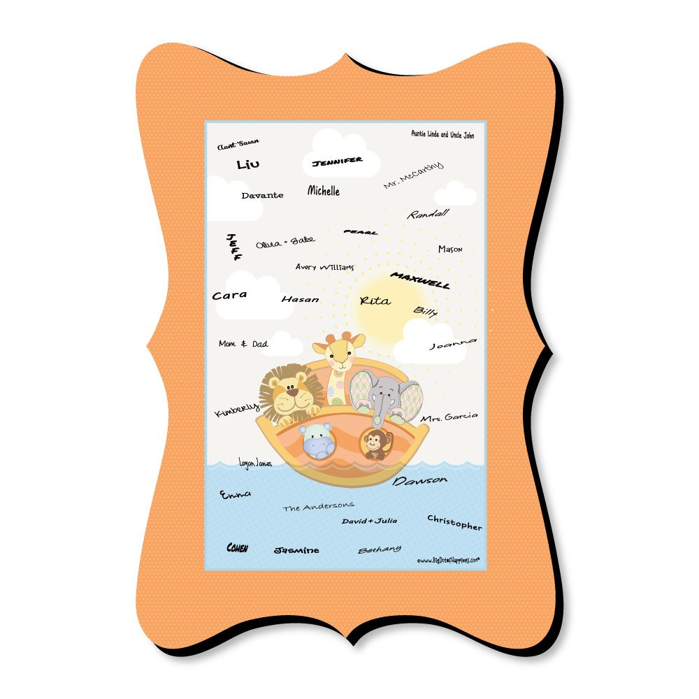 Big Dot of Happiness Noah's Ark - Unique Alternative Guest Book - Baby Shower Signature Mat
