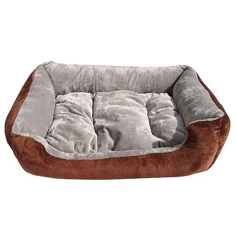 JEELINBORE Lavable Suave Cama para Perro Cómodo Casa Cesta Rectangular para Mascotas (Gris, M