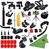 Xixihaha 45-in-1 Camera Accessories Bundle Attachments Kit for GoPro Hero Session Fusion 7/6/5/4/3 and for SJ4000 Xiaomi Yi Black Sliver Action Video Cameras Helmet Strap +Floating Grip+Chest Belt S