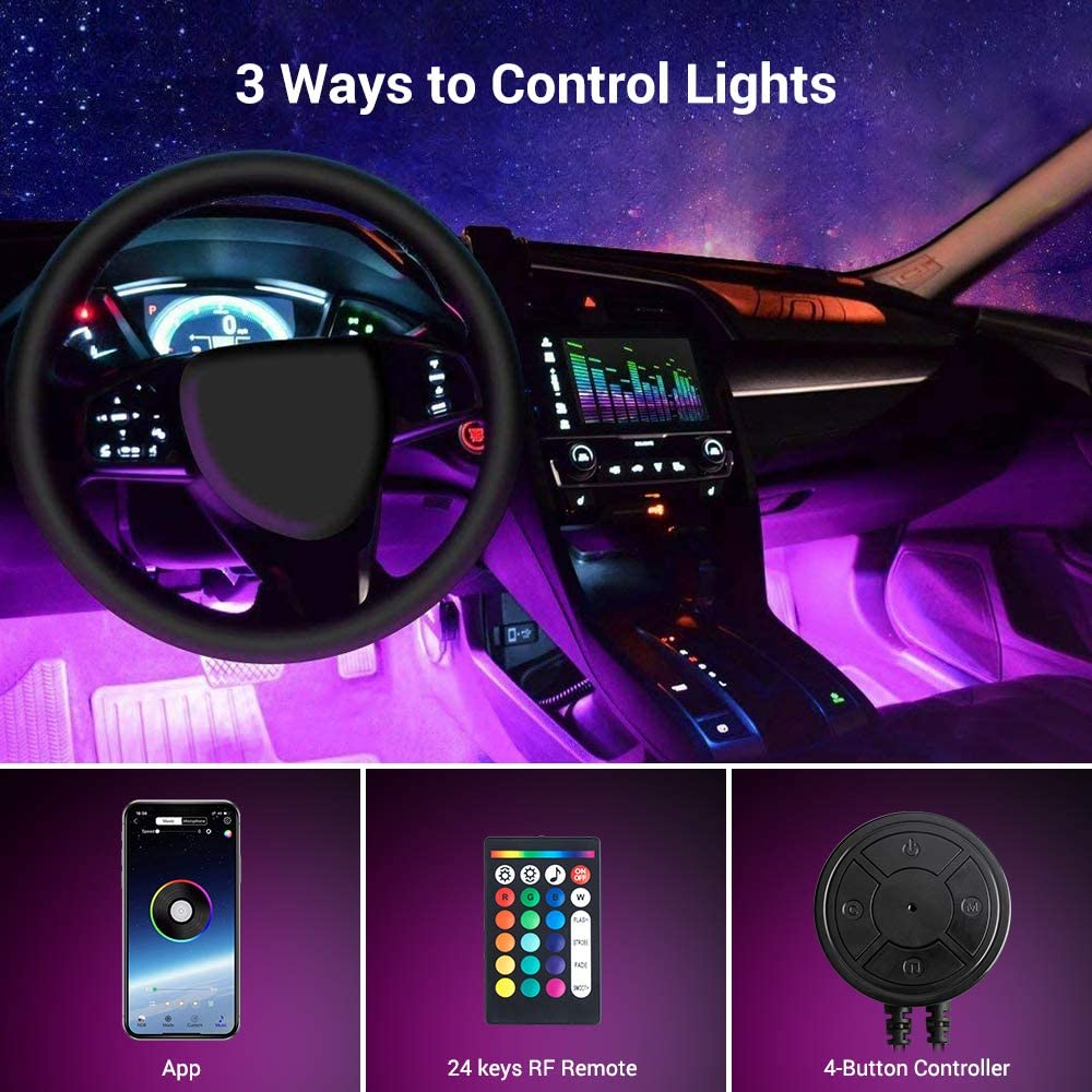 MustWin Interior Car Lights with APP /& Remote Control /& 4 Buttons Control 2 in 1 Design 4pcs 48 LEDs Car LED Strip Lights Multicolor Music Lighting Kit Under Dash Car Lighting Sync to Music DC 12V