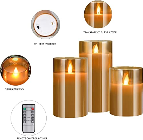 YINUO LIGHT Flameless Candles, Real Wax Glass Shell Flickering Moving Flame Faux Wickless Pillar Candles Battery Operated with Remote and Timer, 4 5 6 Set of 3