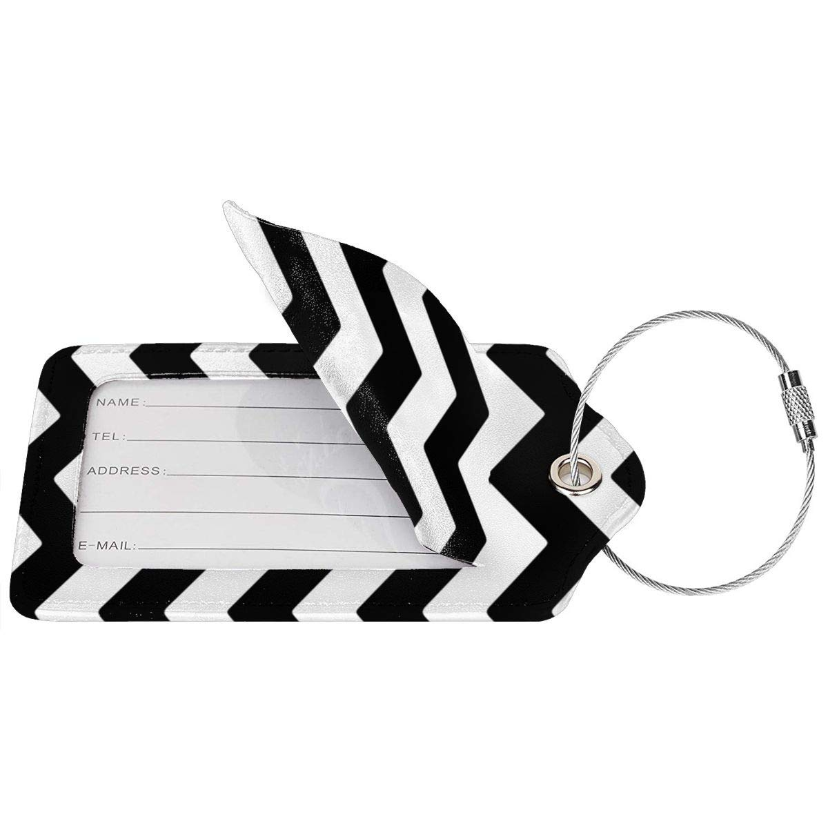 GoldK Black White Stripes Leather Luggage Tags Baggage Bag Instrument Tag Travel Labels Accessories with Privacy Cover