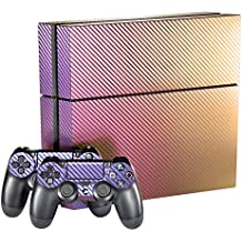 eXtremeRatePurple and Gold Chameleon Full Faceplates Skin Console & Controller Decal Covers for Dualshock 4 PS4