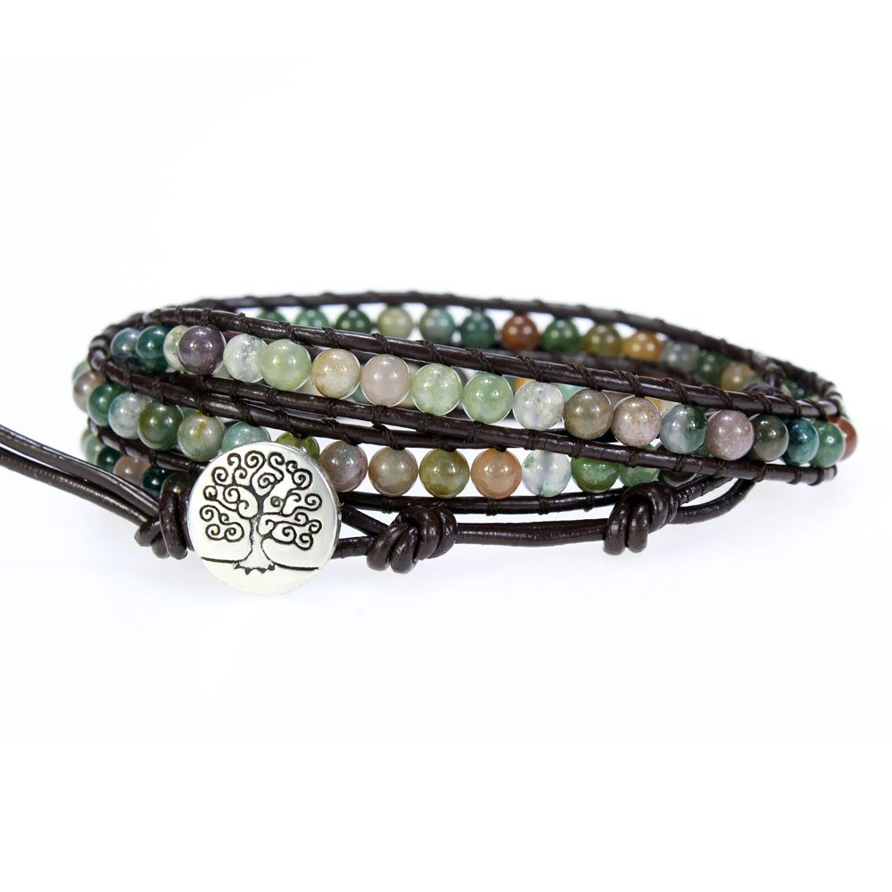 Tree of Life Genuine Leather Bracelet Bangle Cuff Rope Bead 3 Wrap Adjustable Multicolor India Agate
