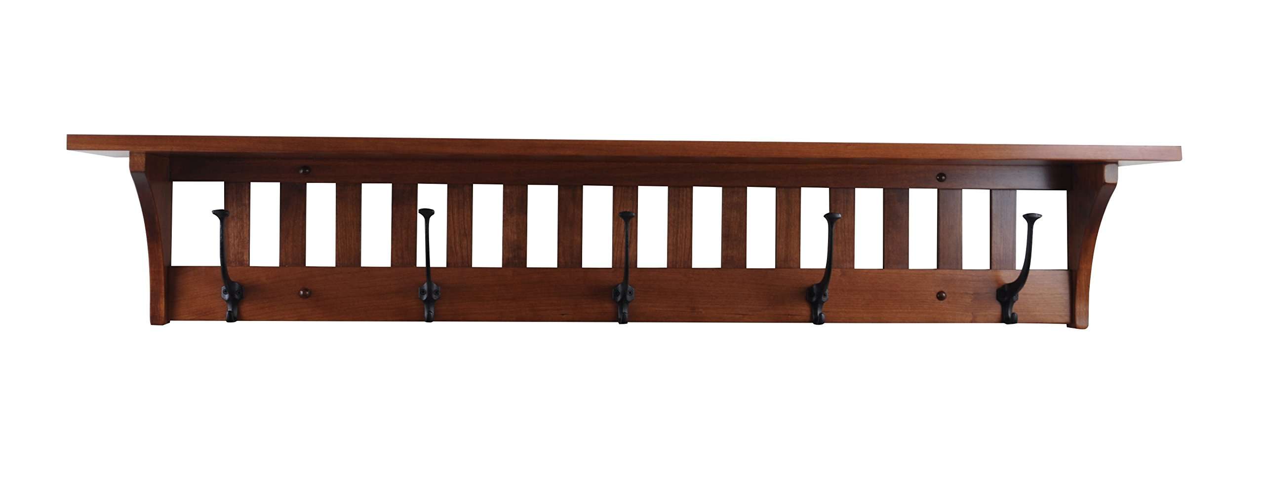 Wood Coat Rack Shelf Wall Mounted, Mission, 5 Hook, Cherry Wood, Contact us with your stain, Custom Available