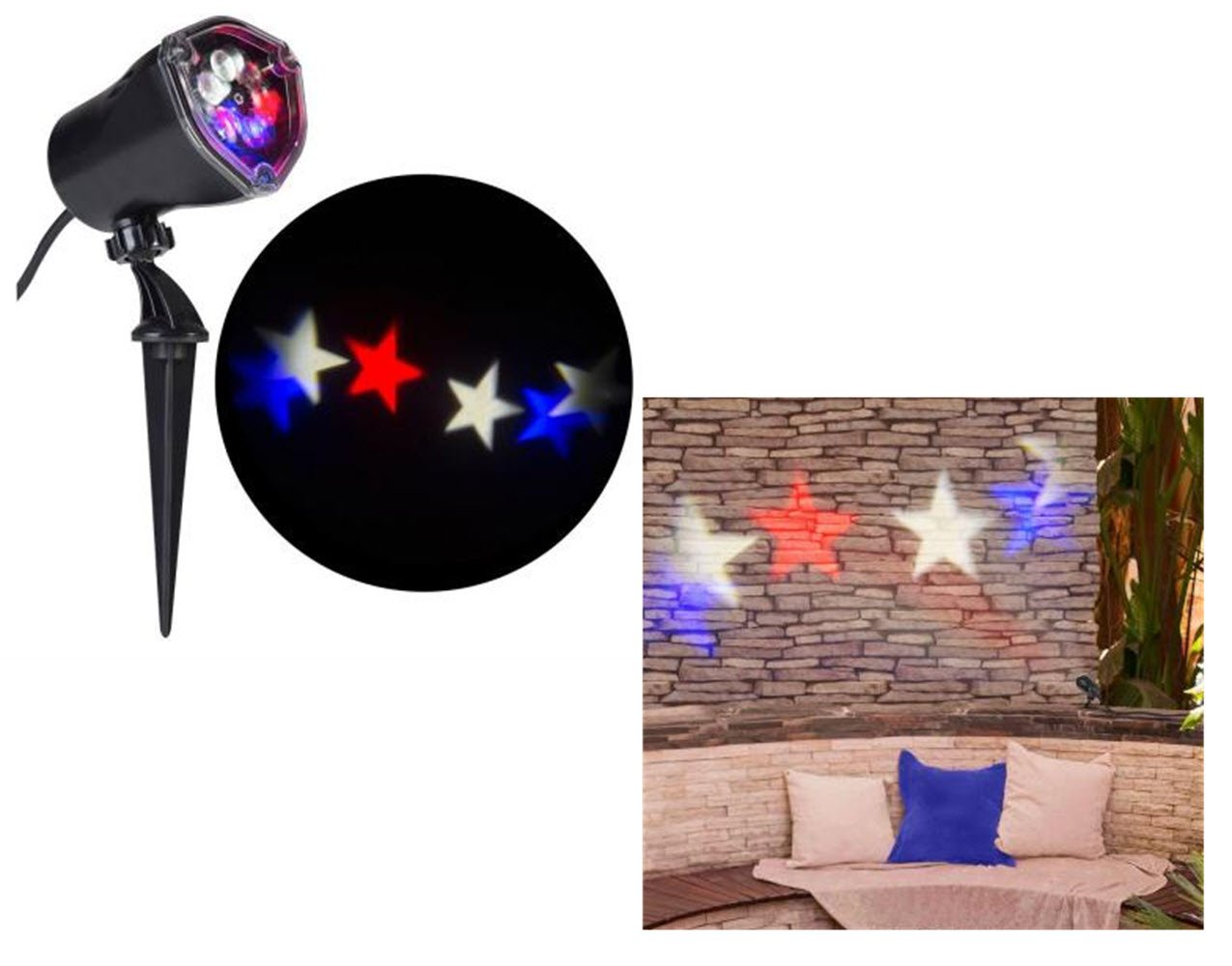 Americana Patriotic Red White & Blue Stars Whirl a Motion LED Projector Light for July 4th!