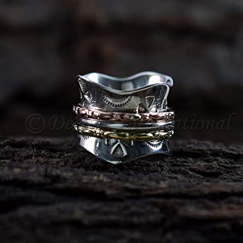 Amazon.com: Silver Spinner Ring, Meditation Spinner Ring ...