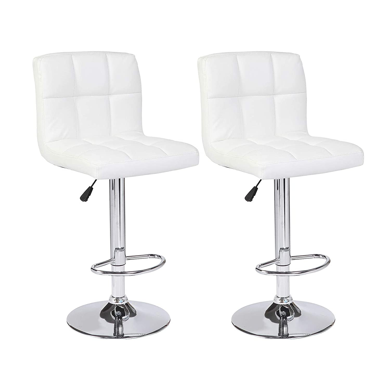 Mecor 2er Set Barhocker Verstellbarer Tresenhocker Barstuhl Bistrohocker Bar Sessel mit Robustem Standfuß höhenverstellung weiß 120kg