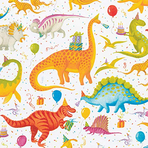 Caspari Partysaurus 30 in. x 5 ft. Wrapping Paper Rolls, 3 Rolls Included
