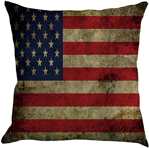 home decoration American patriotic navy red stripes cushion cover US SELLER