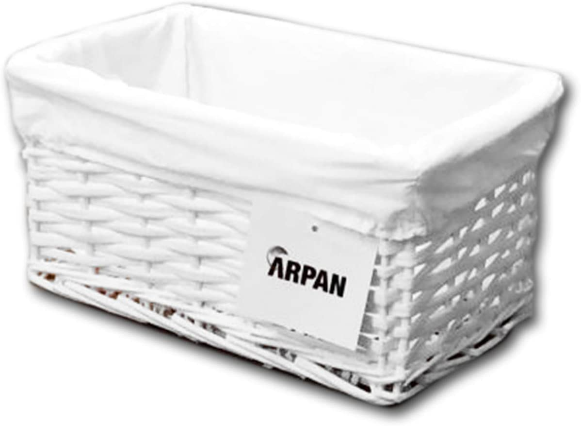 ARPAN - Cesta de Almacenamiento, de Mimbre, tamaño pequeño, en Color Blanco con Forro Blanco