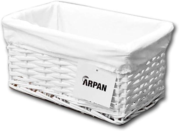 ARPAN - Cesta de Almacenamiento, de Mimbre, tamaño pequeño, en Color Blanco con Forro Blanco: Amazon.es: Hogar