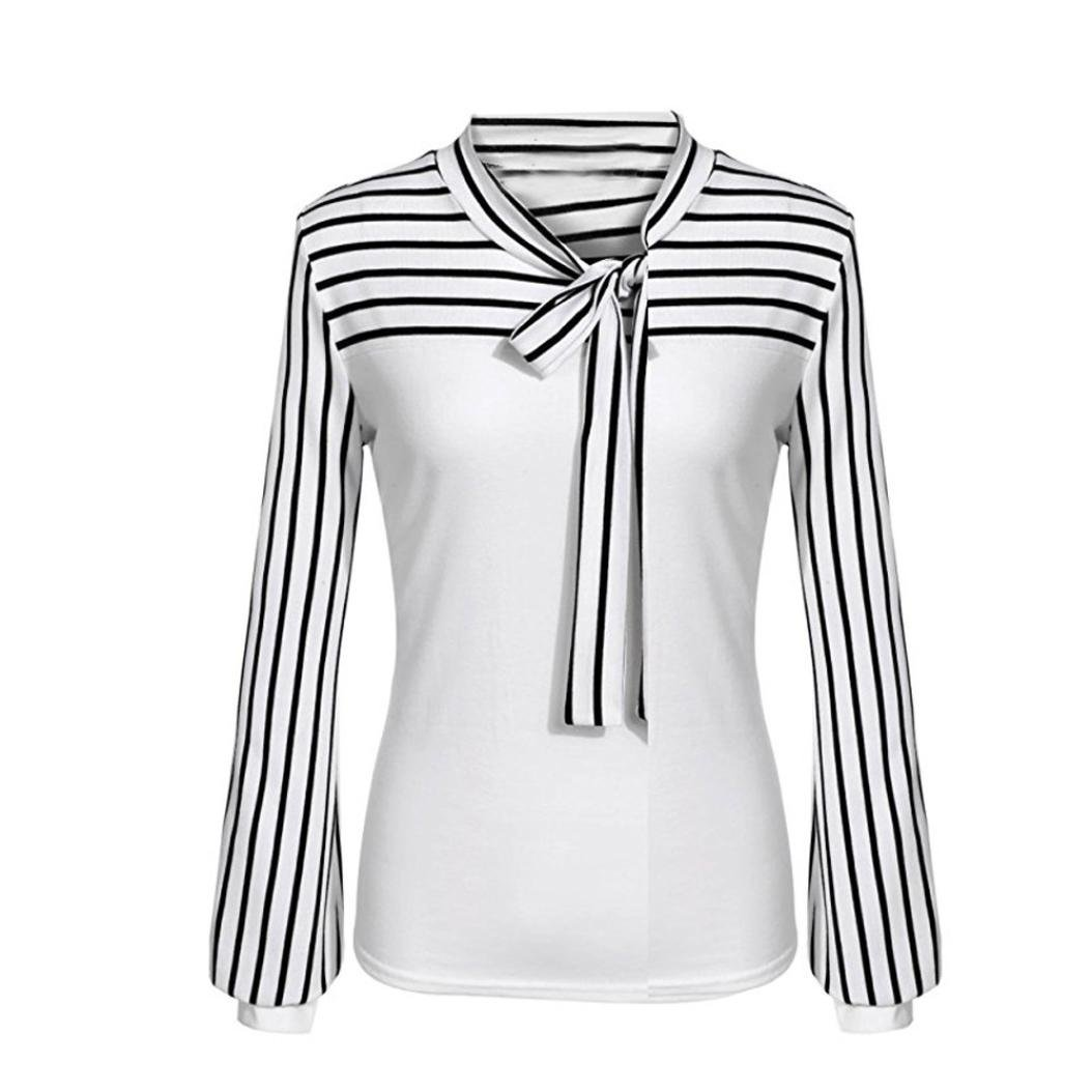 GREFER Clearance!Women Tie-Bow Neck Striped Long Sleeve Splicing Shirt Blouse