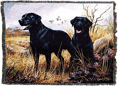 Pure Country Weavers - Labrador Retriever Black Woven Tapestry Throw Blanket with Fringe Cotton USA Size 72 x 54 -