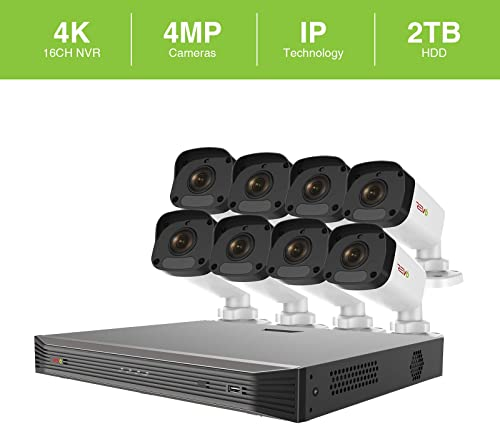 Revo America Ultra 16 Ch. 2TB HDD IP NVR Video Surveillance System, 8 x 4MP IP Bullet Cameras – Remote Access via Smart Phone, Tablet, PC MAC