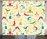 Yoga Decor Collection Fitness Girls Pattern Colorful Line Art Young Jumping and Jump Game Cartoon Joy Trend Pattern Living Room Bedroom Curtain 2 Panels Set Ivory Green For Sale