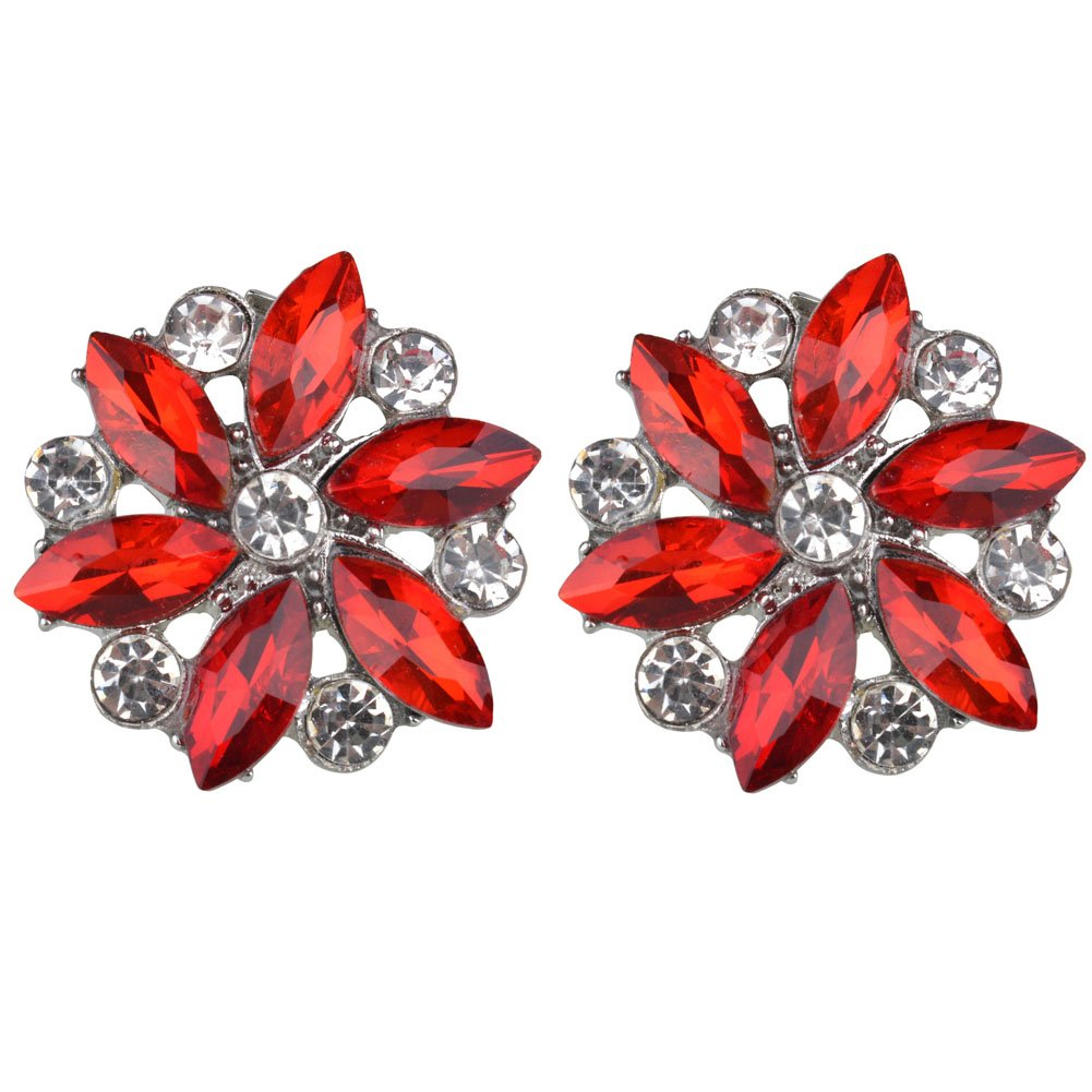 Rantanto Crystal Metal Shoes Clips Accessory Shoes Decoration Charms Pack (SDA0022 Red)