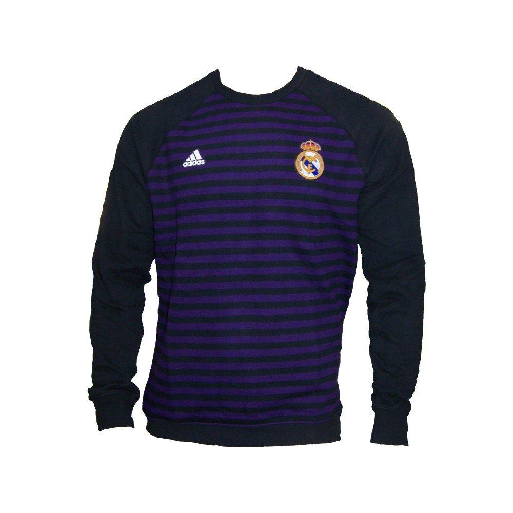 Adidas Real Madrid Herren Pullover Sweatshirt lila schwarz gestreift Cotton