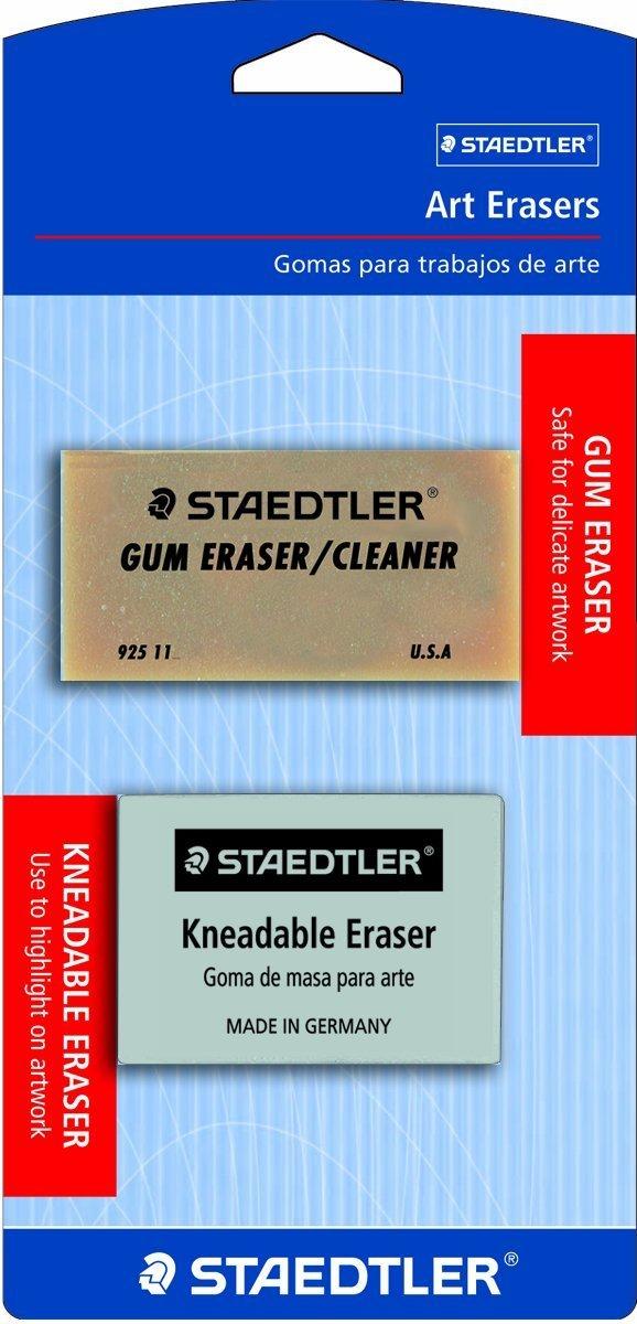 Staedtler Art Erasers, 1 ea Kneadable Eraser and 1-Each Art Gum Eraser, 525925BK- 3 Pack