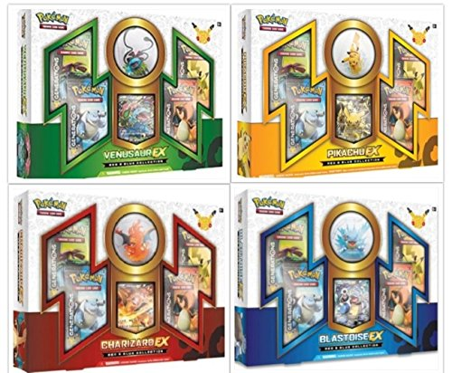 Pokemon TCG Red & Blue Collection Complete Set of 4 EX Boxes. Includes Charizard, Pikachu, Venusaur, and Blastoise by FED USA Gaming