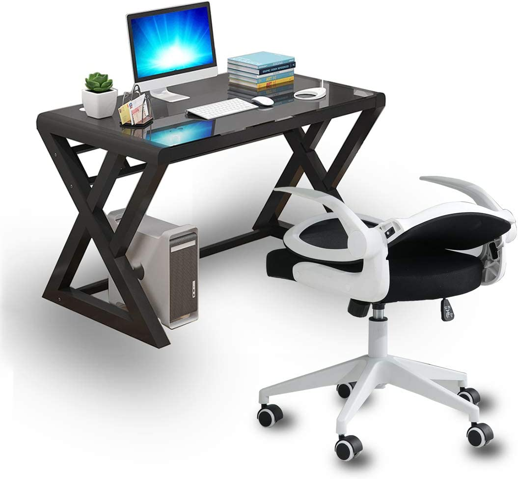 IPKIG Computer Desk and Chair Set, Ergonomic Mesh Office Chair and Computer Desk with Metal Frame Glass Top Work Gaming Writing Desk for Home Office Workstation 55.1 Inch Table with White Chair