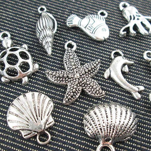 Turtle Shell Charm (10 Mixed Ocean Turtle Shells Fish Jewelry Making Charms (NS513))