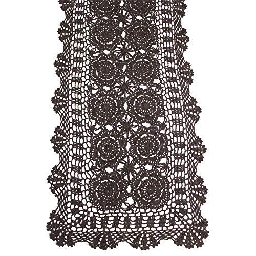 KEPSWET Cotton Handmade Crochet Lace Table Runner Dark Brown Rectangle Coffee Table Dresser Decor (14x36 inch)]()