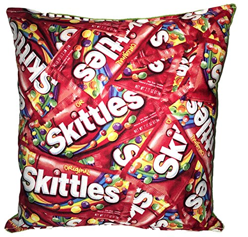 """Skittles Pillow Nestle Skittles Candy Pillow HANDMADE Man Cave Pillow Made USA Pillow is approximately 10"""" X 11"""" Movie Room,, Film, TV, Theater, Kid, Living Rooms"""