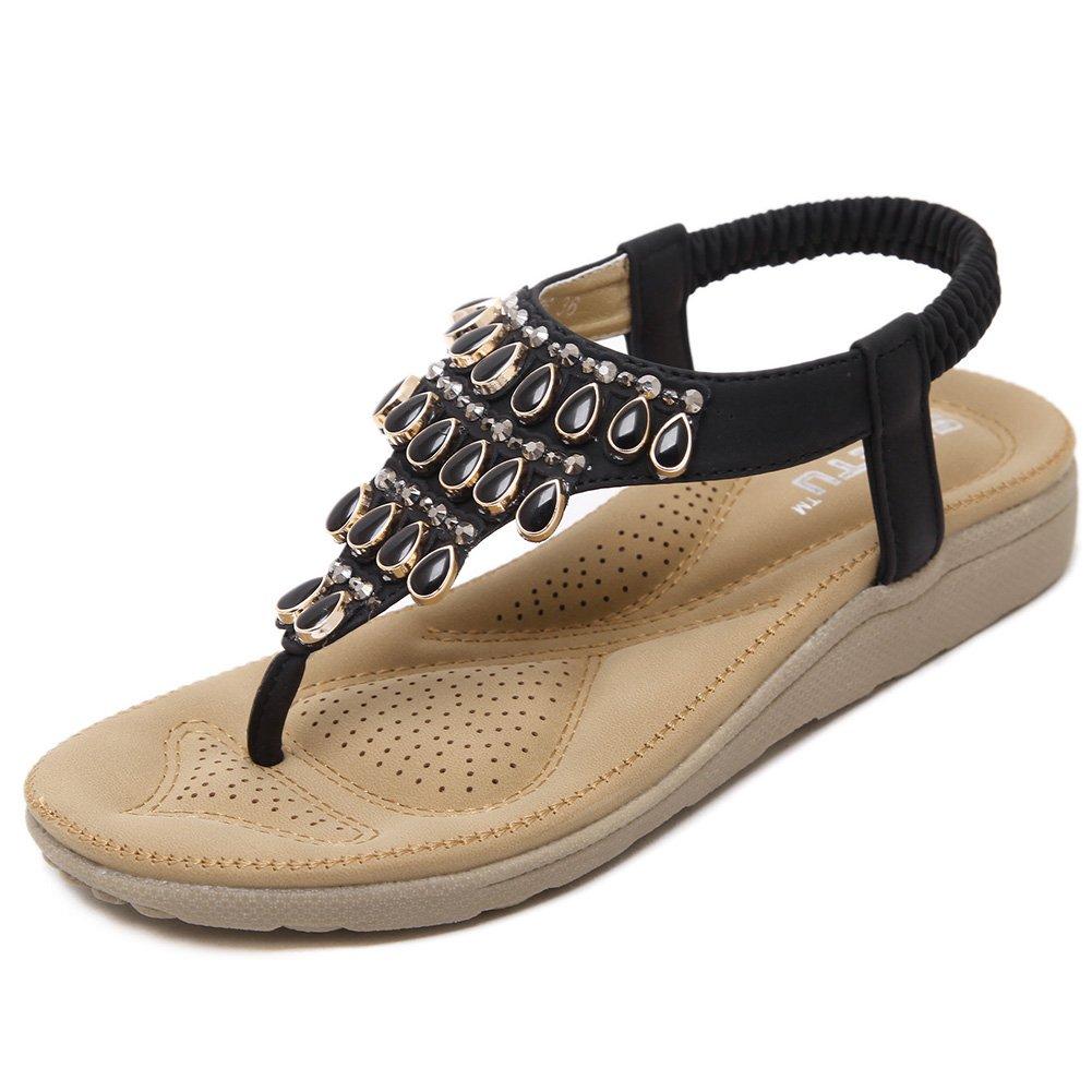 SANMIO Damen Sandalen, Frauen Sandals Bohemian Strass Flach Sandaletten Sommer PU Leder Zehentrenner  36 EU|Schwarz-c