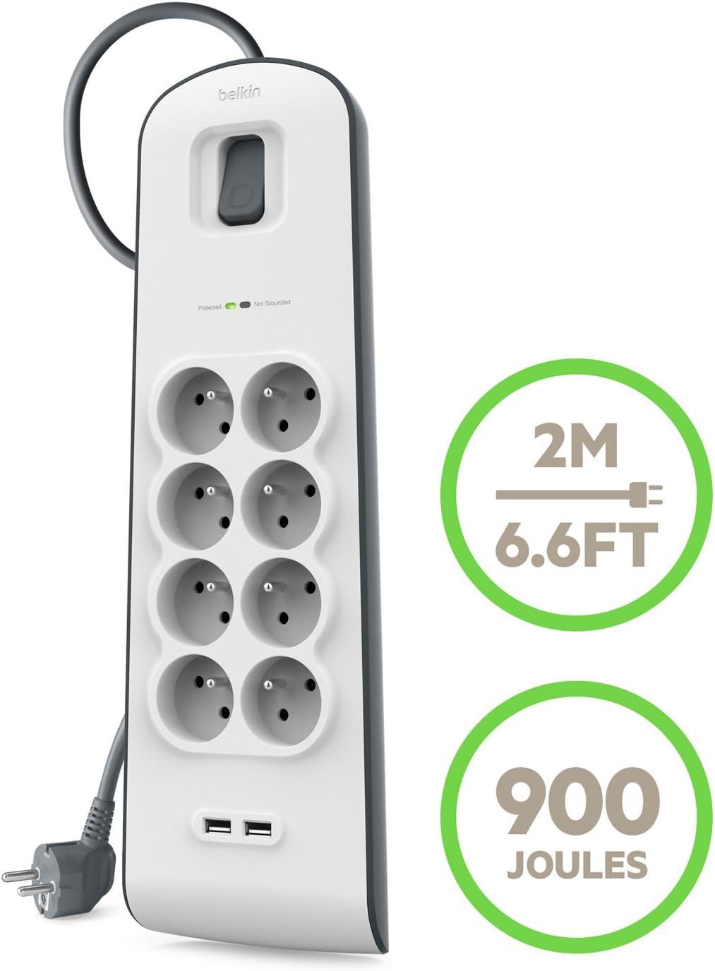 Multiprise Parafoudre Rallonge BELKIN 8 Prises 220V 2 Ports USB cordon 2m BLANC